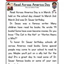read across america day reading comprehension worksheet