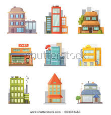 House Flat Design Flat Design Retro Modern City Houses Stock Vector 577223155
