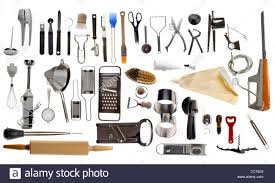 compilation of various kitchen utensils kitchen tools stock photo