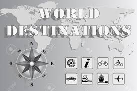 Map With Compass World Map With Compass Rose And Travel Icons World Destinations