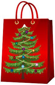 christmas gift bag with christmas tree png clip art image