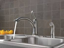 High Rise Kitchen Faucet by Delta Linden Single Handle Deck Mounted Kitchen Faucet With Spray