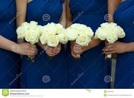 Bridesmaid Flowers Four Bridesmaids Holding Wedding Bouquets Royalty Free Stock Photo