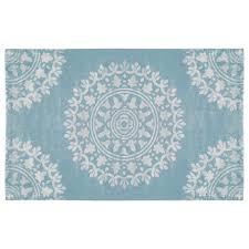 nojo turquoise and white medallion rug 5 foot x 8 foot babies
