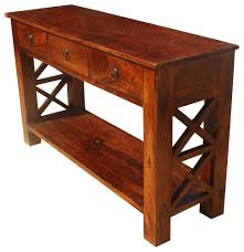Wood Entry Table Rustic Solid Wood Entry Hallway Console Table With Drawers In