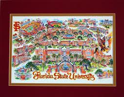 Florida State University Campus Map by Colleges U0026 Universities Linda Theobald Art P O Box 6226