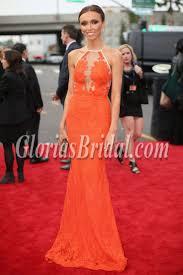 Grammy Red Carpet 2014 Best by Giuliana Rancic Orange Lace Evening Dress 2014 Grammy Red Carpet