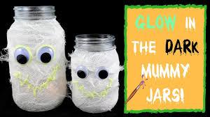 kids halloween crafts glow in the dark mummy mason jar youtube