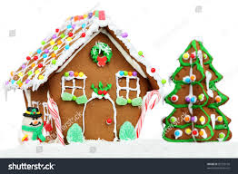 gingerbread house isolated on white background stock photo