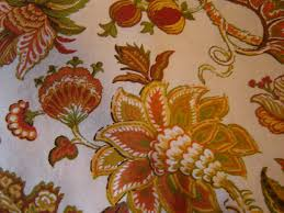 Jacobean Floral Curtains Vvntage Fabric Curtains Jacobean Floral Print Gold Rust Green