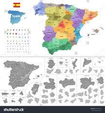 Asturias Spain Map by Spain High Detailed Vector Map Colored Stock Vector 487897744