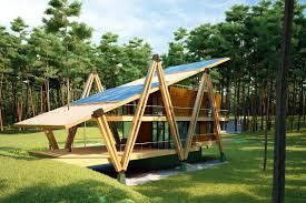 energy efficient house designs energy efficient forest home has suspended net lounge
