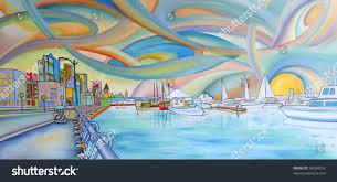 the lexus hotel seattle seattle waterfront mt rainier painting art stock photo 94284253