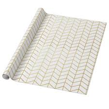 wrapping paper herringbone pattern faux gold foil white geometric wrapping paper