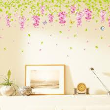 warm romantic diy removable wallpaper small size purple flowers