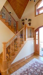 stairs outstanding rod iron railing wood and rod iron railing