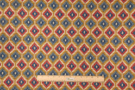 Drapery Fabrics Waverly Geo Diamond Printed Cotton Drapery Fabric In Navy