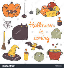 cute halloween cat cute hand drawn doodle halloween objects stock vector 483212047