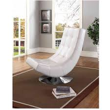 Tufted Accent Chair Baxton Studio Massey Contemporary White Pu Leather Upholstered And