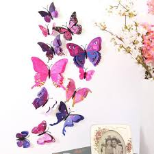 aliexpress com buy 12pcs wall sticker plastic 3d butterfly decal aliexpress com buy 12pcs wall sticker plastic 3d butterfly decal dual wall stickers home room decoration purple red rainbow blue pink white from