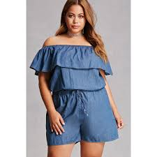 Trendy Plus Size Jumpsuits Forever21 Plus Size Denim Romper 28 Liked On Polyvore