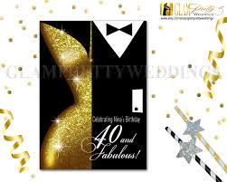 gold sequin 40th birthday invitation chic art deco black