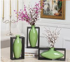 modern egg shape with wood frame ceramic vase for home decor