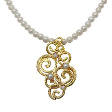 pearls and gold plated silver ornament necklace gifts from