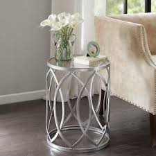 Metal Side Tables For Living Room Silver Metal Glass Accent Drum End Side Table Living Room