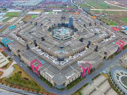 image shows an aerial view of shanghai pentagonal mart in huinan town picture id505979264