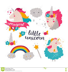 free rainbow birthday invitations set of baby unicorn and rainbow stock vector image 74941319