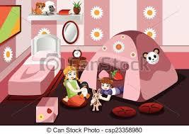 tente chambre tente intérieur gosse jouer chambre à coucher vecteur