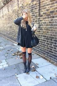 black dress dresses grey boots knee highs stockings grey