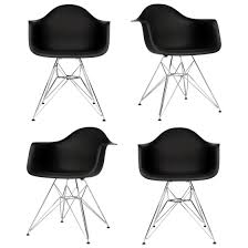 Black And White Armchairs Set Of 4 Eames Style Dar Molded Black Plastic Dining Armchair With