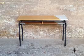 bureau ancien en bois bureau d école ancien bois et métal gris clair