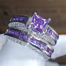 gemstones wedding rings images Princess luxury 925 sterling silver purple crystal cz gemstones jpg