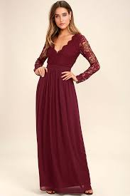 maxi dress with sleeves awaken my burgundy sleeve lace maxi dress length