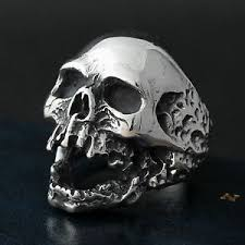 steel skull rings images Men 39 s gothic rocker biker vintage huge silver 316l stainless steel jpg