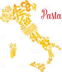 Italian Map Pasta Or Italian Macaroni Vector Italy Map Stock Vector Art