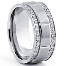 titanium mens wedding rings titanium men s ring with row cubic zirconia 9mm free