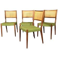 walnut and rattan set of dining chairs denmark 1960s at 1stdibs