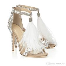 wedding shoes for 2018 fashion feather wedding shoes 4 inch high heel crystals