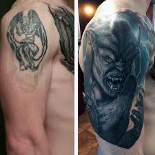 cover up mens gargoyle arm tattoos tattoos