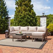 Sectional Patio Furniture Sets - sunnydaze belgrano 6 piece sofa sectional patio furniture set