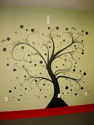 wall paint stencils tree with beautiful natural dark tree color