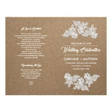 kraft paper wedding programs lace flowers kraft paper folded wedding programs kraft paper