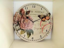 postal french shabby chic country style floral wall clock in 3 designs