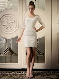 elegant short 3 4 lace sleeves wedding dress with v shaped back