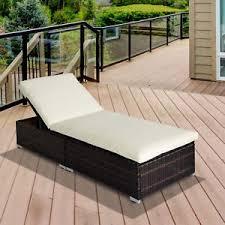 rattan sun lounger garden furniture recliner bed chair pool patio