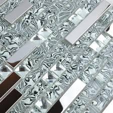 metallic tiles backsplash silver 304 stainless steel metal crystal glass moasic tiles